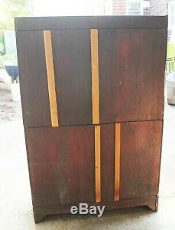Antique barrister stacking tiger oak 4 section bookcase by Danner