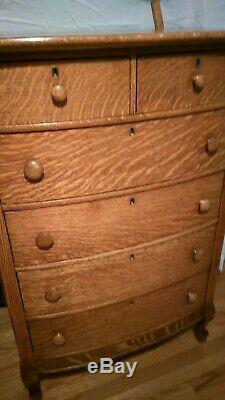 Antique c1900 American Tiger Oak Beveled mirror 6 dwr Highboy Dresser