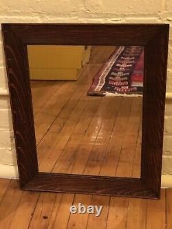 Antique c1900 Quarter Sawn Tiger Oak Mission Arts Crafts 18 x 22 Frame W Mirror