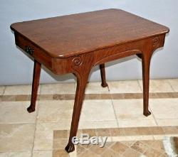 Antique oak Mission/Arts and Crafts library game chess table two drawers