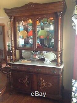 Antique reproduction victorian dining furniture in tiger oak by Pulaski