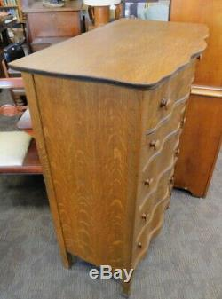 Antique serpentine front tiger oak lingerie chest of drawers dresser
