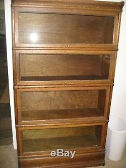 Antique tiger oak 4 stack barrister book shelf, ex. Condition, top/botton frame