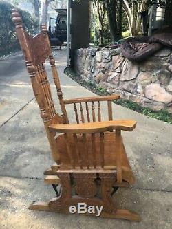 Antique tiger oak rocking chair