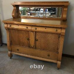 Antique tiger oak table, 2 leaves, 8 chairs, buffet, china hutch