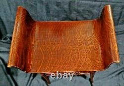 Antique tiger oak veneer bentwood bench chair with curved armrest