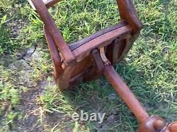 Antique vtg Oak Desk Chair Office rolling castors wood wooden
