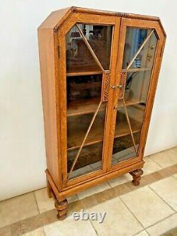 Art Deco Bookcase Double Door Locking curio china cabinet Oak three shelves