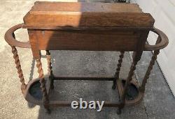 Arts & Crafts Antique TIGER OAK TABLE DOUBLE UMBRELLA/CANE STANDS Barley Twist