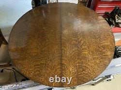 Arts & Crafts Mission 48 Round Tiger Oak Dining Table with 2 Leaves