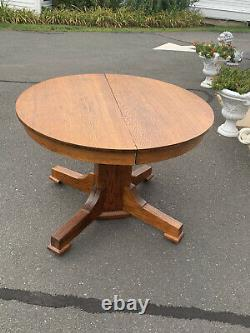 Arts & Crafts Mission Round Oak Dining Table & 3 Leaves 42 Round 72 With Leaves