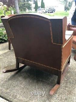Arts and crafts mission style tiger oak leather upholstered furniture set