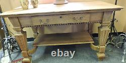 BEAUTIFUL ANTIQUE QUARTER SAWN TIGER OAK WRITING TABLE DESK SOFA With DRAWER