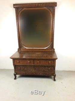 BEAUTIFUL Antique Quarter Sawn Tiger Oak Vanity / Princess Dresser with Claw Feet