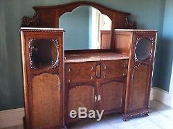BEAUTIFUL antique bicolor tiger oak sideboard buffet with pink marble tops