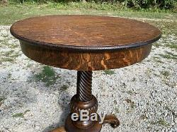 Beautiful Antique Tiger Oak Lamp Table Stand Round Top