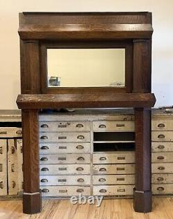 Beautiful Antique Tiger Oak Mission Arts & Crafts Fireplace Mantle