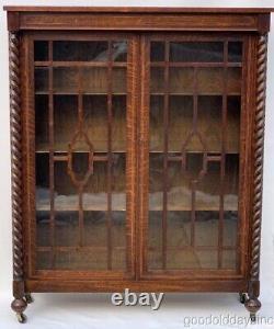 Beautiful Tiger Oak Carved Barley Twist Spiral Bookcase Circa 1910 54 x 44
