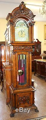 Best 9 Tube Walter Durfee Tiffany & Co Tiger Oak Grandfather Tall Case Clock