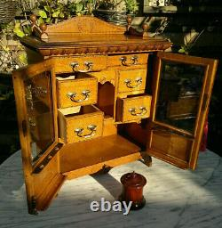C1900 Antique English Inlaid Tiger Oak Smokers CabinetDesktop Cabinet20by 16
