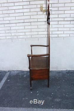 Charming Antique American Tiger Oak Hall Tree With Seat & Mirror, Early 19th C