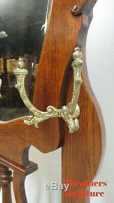 Custom Antique Tiger Oak Hall Seat Mirror Bench Clothes Tree Coat Rack
