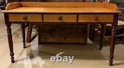Custom Three Drawer Writing Table in Maple with Tiger Maple Drawers
