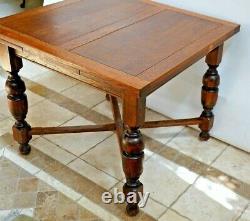 Dutch Oak Refectory Table carved Legs drop down hidden draw leafs antique