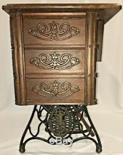Early 1900's SINGER Treadle Sewing Machine Tiger Oak Cabinet Cast Iron 7 Drawers