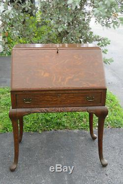 Early 1900s Solid Tiger Oak Carved Secretary Desk with Drawer 1392