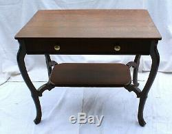 Early 20th C. Tiger Oak Library Desk with Drawer
