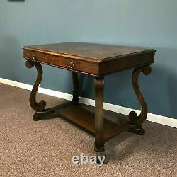 Early 20th Century Tiger Oak Library Desk With One Drawer