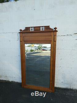 Early Victorian Tiger Oak Wall Bathroom Vanity Mirror 9675