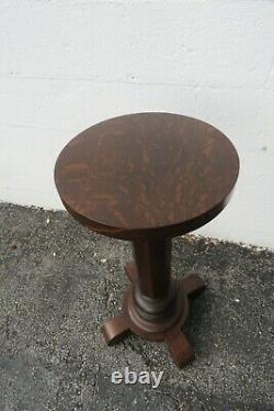 Empire Early 1900s Tiger Oak Flower Statue Stand Pedestal Table 2281