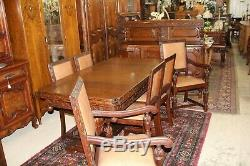 English Antique Art Deco Tiger Oak Draw Leaf Dining Room Table 6 Chairs & Buffet