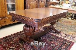 English Antique Renaissance Tiger Oak Wood Draw Leaf Dining Table / Large Desk