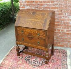 English Antique Solid Tiger Oak Art Deco Front Drop Desk