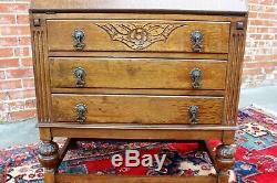 English Antique Tiger Oak Art Deco Front Drop Desk