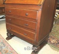 English Antique Tiger Oak Art Deco Secretary Desk