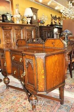 English Antique Tiger Oak Art Deco Sideboard / Buffet / Bar Cabinet