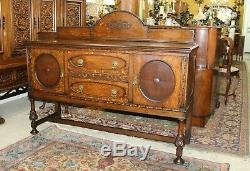 English Antique Tiger Oak Edwardian Sideboard / Buffet / Bar Cabinet