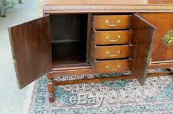 English Antique Tiger// Oak Edwardian Sideboard Buffet / Bar Cabinet