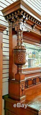 English Antique Tiger Oak Jacobean Sideboard / Buffet / Bar Cabinet / Dresser