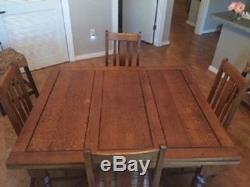 English Antique Tiger oak Barley Twist Draw Leaf Pub Table & 4 Original chairs