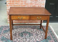 English Tiger Oak Art & Craft Writing Desk With 2 Drawers