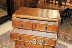 English Tiger Oak Arts & Crafts Small 6 Drawer Chest Bedroom Furniture