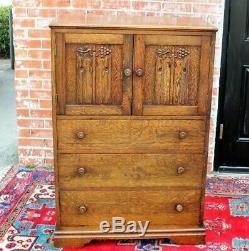 English Tiger Oak Solid Wood Antique 3 Drawer 2 Door Cabinet / Bedroom Chest