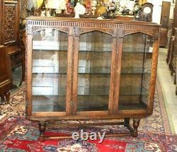 English Tiger Oak Wood Art Deco 3 Door Display Cabinet / Bookcase