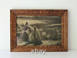 Exceptional antique solid wood tiger oak picture frame approx 10 x 14