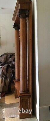 Fabulous Tiger Quarter Sawn Oak Hall Foyer Pier Mirror large Corinthian Columns